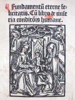 Titelblatt einer Postinkunabel mit Holzschnitt